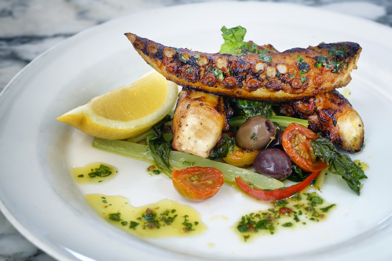 Grilled octopus, capers and olives
